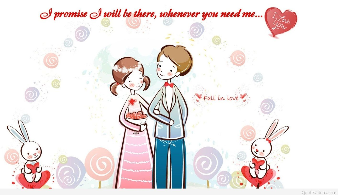 Cute Valentines Day Cartoon Couple Love 4 Status Wallpapers
